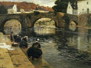 Washerwomen in the Morning at Quimperle, 1902 by Fritz Thaulow