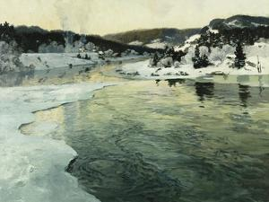 Winter on the Mesna River Near Lillehammer, C. 1905-06 by Fritz Thaulow