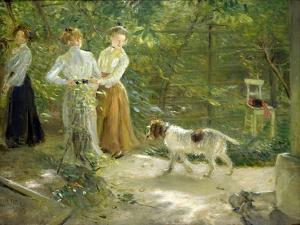View of the Artist's Garden with His Daughters, 1903 by Fritz von Uhde