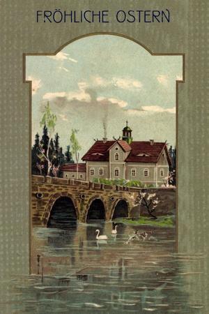 https://imgc.allpostersimages.com/img/posters/frohe-ostern-schwaene-auf-dem-fluss-bruecke-wohnhaus_u-L-PONN0V0.jpg?p=0