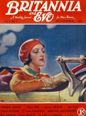 Front Cover Illustration Featuring a Lady in a Beret and Scarf Driving a Convertible Car