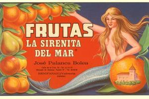 Fruit Crate Label, Mermaid