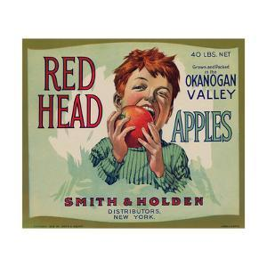 Fruit Crate Labels: Red Head Apples; Distributed by Smith and Holden, New York