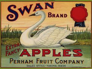 Fruit Crate Labels: Swan Brand Extra Fancy Apples; Perham Fruit Company