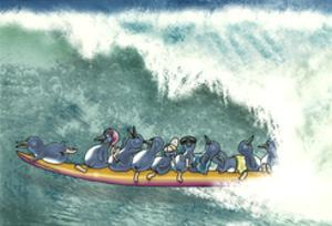 Fairy Penguins Surfing by FS Studio