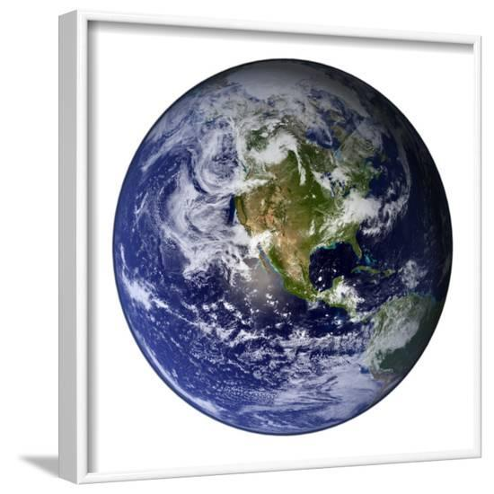 Full Earth Showing North America-Stocktrek Images-Framed Photographic Print