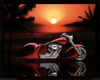Full Fender Custom Motorcycle Art Print Poster