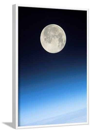 Full Moon Above Earth, From the ISS--Framed Photographic Print