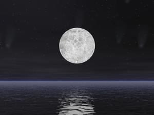 Full Moon on a Dark Night with Stars and Comets over the Ocean