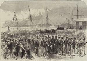 Funeral of Admiral Warden at Portsmouth, the Procession Leaving the Dockyard