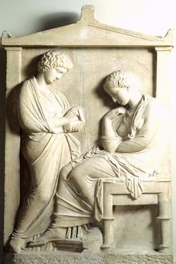 Funerary Stele Depicting Deceased Person and His Servant Relief from Necropolis of Kerameikos