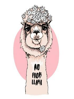 Funny Poster. Portrait of Llama with a Chamomile Flowers. No Probllama - Lettering Quote. Humor Car