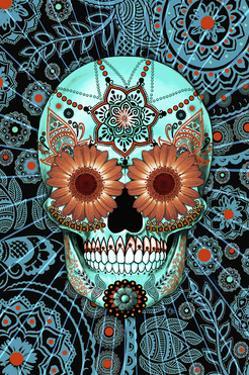 Sugar Skull Caribbean Blue by Fusion Idol Arts