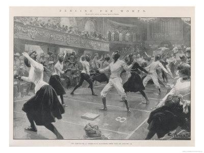 An Exhibition of Ladies, Fencing at Oxford Town Hall