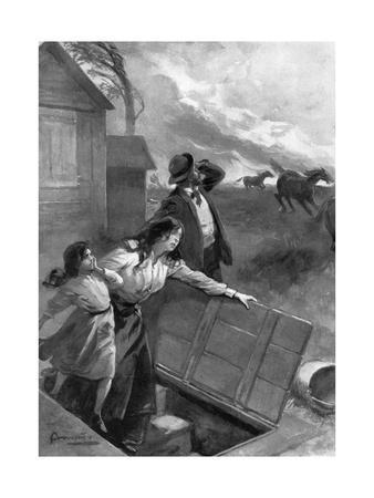 Family Flees from Tornado, 1903