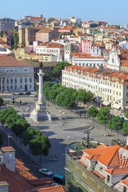 Aerial View of Rossio Square, Baixa, Lisbon, Portugal, Europe by G and M Therin-Weise