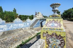 Azulejos of the Tiled Canal, Royal Summer Palace of Queluz, Lisbon, Portugal, Europe by G and M Therin-Weise