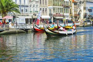 Gondol-Like Moliceiros Boats Navigating on the Central Channel, Aveiro, Beira, Portugal, Europe by G and M Therin-Weise