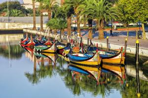 Gondola-Like Moliceiros Boats Anchored Along the Central Channel, Aveiro, Beira, Portugal, Europe by G and M Therin-Weise