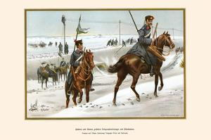Hussars and Uhlans Destroying Telegraph Wires and Railroads by G. Arnold