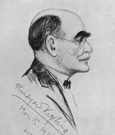 Rudyard Kipling English Writer Sketched During a Visit to Naples in March 1928 by G. Garzia