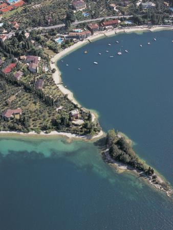 Aerial View of Buildings at the Lakeside, Lake Garda, Malcesine, Province of Verona, Veneto, Italy