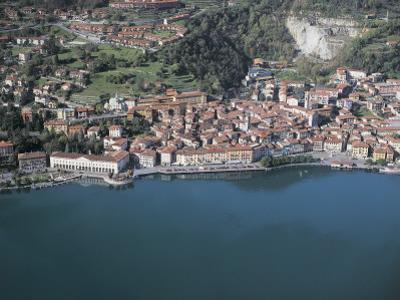Aerial View of Buildings at the Waterfront, Lake Iseo, Lovere, Province of Bergamo, Lombardy, Italy