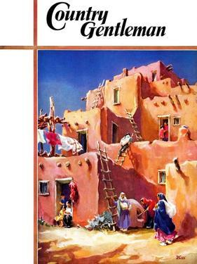 """""""Adobe Village,"""" Country Gentleman Cover, February 1, 1940 by G. Kay"""