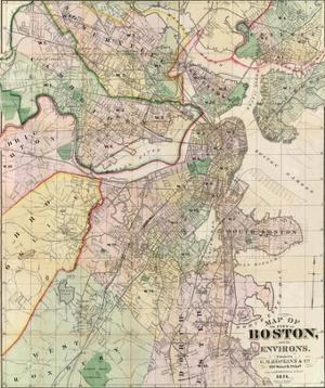 Map of the City of Boston and its Environs, c.1874 by G. M. Hopkins