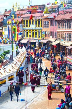 Buddhist pilgrims making the kora, Boudhanath Stupa, largest Asian Stupa, UNESCO World Heritage Sit by G&M Therin-Weise