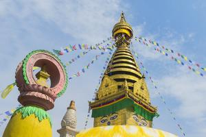 Central Stupa and Buddha eyes, Swayambunath (Monkey Temple), UNESCO World Heritage Site, Kathmandu, by G&M Therin-Weise