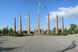 Granite obelisk, Independence Park, Shymkent, South Region, Kazakhstan, Central Asia, Asia by G&M Therin-Weise