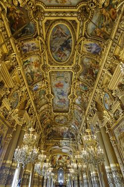 Le Grand Foyer with Frescoes and Ornate Ceiling by Paul Baudry, Opera Garnier, Paris, France by G & M Therin-Weise