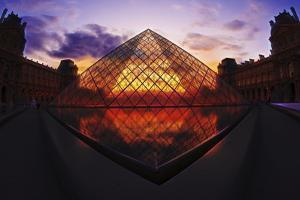 Louvre Pyramide at Sunset, Paris, France, Europe by G & M Therin-Weise