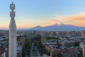 Mount Ararat and Yerevan viewed from Cascade at sunrise, Yerevan, Armenia, Central Asia, Asia by G&M Therin-Weise