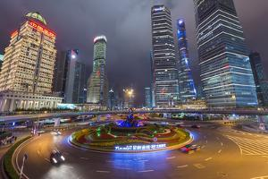 Pudong Financial District at Night, Shanghai, China, Asia by G & M Therin-Weise