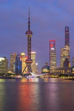 Pudong Financial District Skyline at Night, Shanghai, China, Asia by G & M Therin-Weise