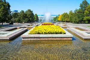 Republic Square Park, water spraying from fountain, Almaty, Kazakhstan, Central Asia, Asia by G&M Therin-Weise
