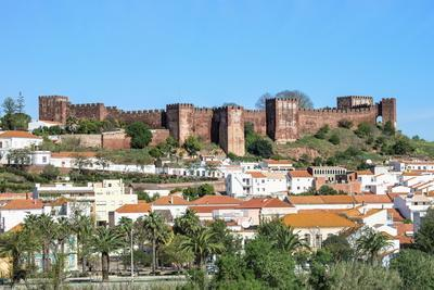 Silves Skyline with the Moorish Castle and the Cathedral, Silves, Algarve, Portugal, Europe