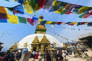 Swayambunath or Monkey Temple, Central Stupa and Buddha eyes, UNESCO World Heritage Site, Kathmandu by G&M Therin-Weise