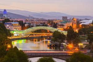 Tbilisi at dusk, Georgia, Caucasus, Asia by G&M Therin-Weise
