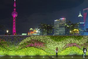 Vegetal Wall on the Bund and View over Pudong Financial District Skyline at Night, Shanghai, China by G & M Therin-Weise