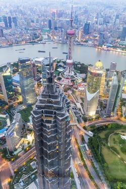 View over Pudong Financial District at Dusk, Shanghai, China, Asia by G & M Therin-Weise