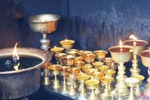 Votive candles, Boudhanath Stupa, UNESCO World Heritage Site, Kathmandu, Nepal, Asia by G&M Therin-Weise