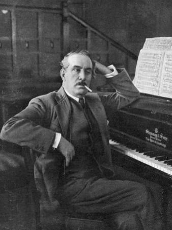 Giacomo Puccini Leans on the Pianoa Cigarette Dangling from the Side of His Mouth