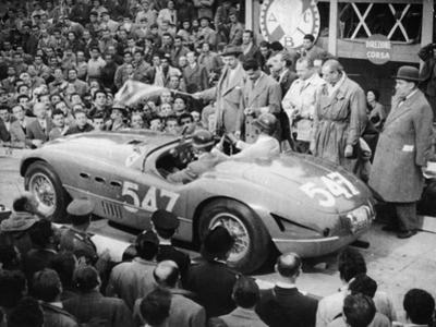 G Marzotto in a 4.1 Ferrari, Taking Part in the Mille Miglia, 1953