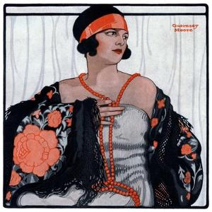 """""""Flapper in Shawl and Beads,""""January 19, 1924 by G Moore"""