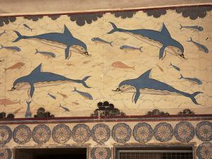 Dolphins, Knossos, Crete, Greek Islands, Greece by G Richardson