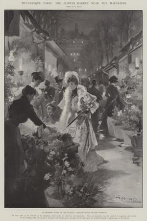 Picturesque Paris, the Flower Market Near the Madeleine by G.S. Amato