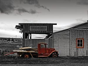Red Truck at Old Barn by G. Sanders
